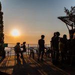 tramonto visto dalla terrazza panoramica che da sulla Val d'Orcia
